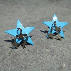 Small blue dangle star earrings